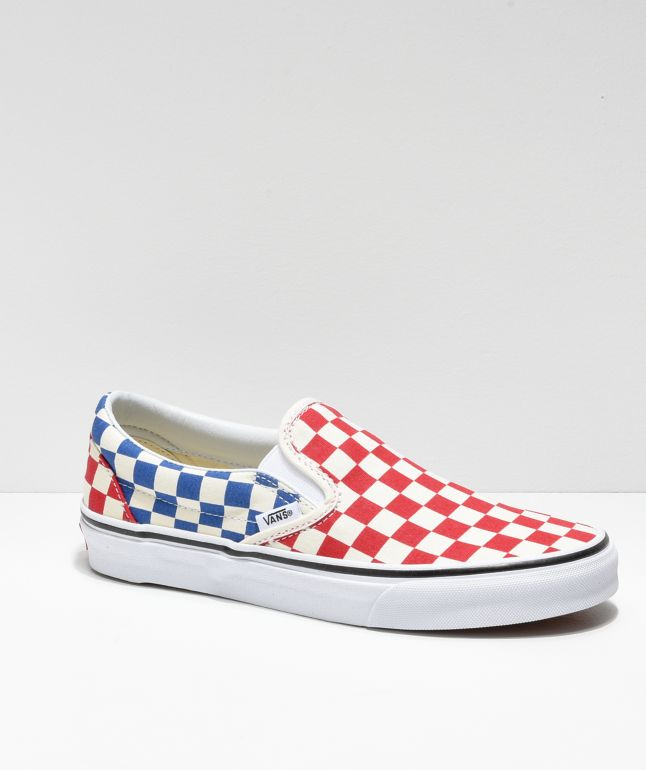 Vans Slip-On Blue \u0026 Red Checkerboard