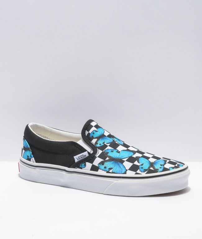 Vans Slip-On Butterfly Checkerboard Skate Shoes