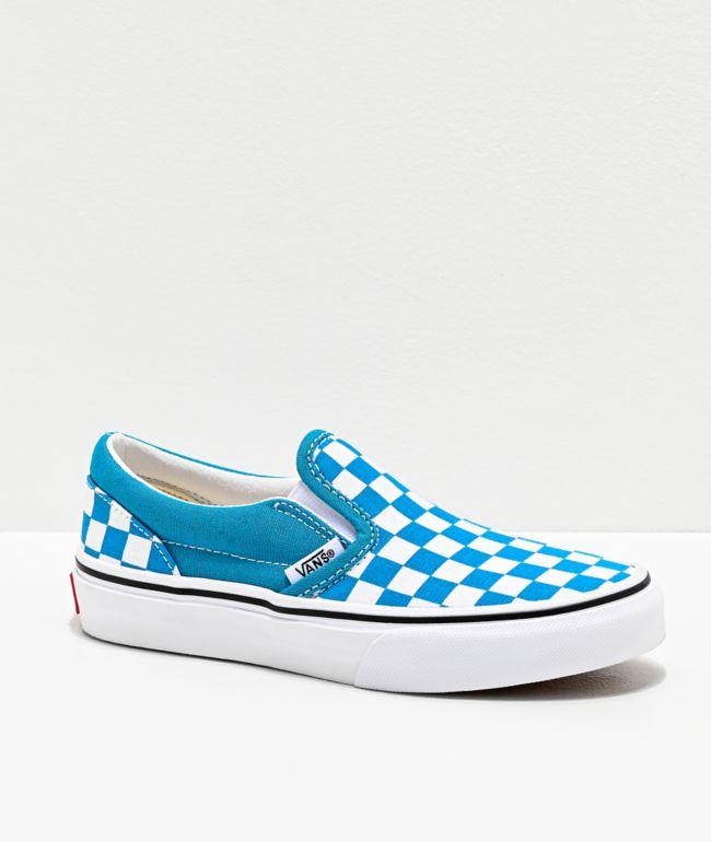 Vans Slip-On Caribbean Sea & True White Checkerboard Skate Shoes