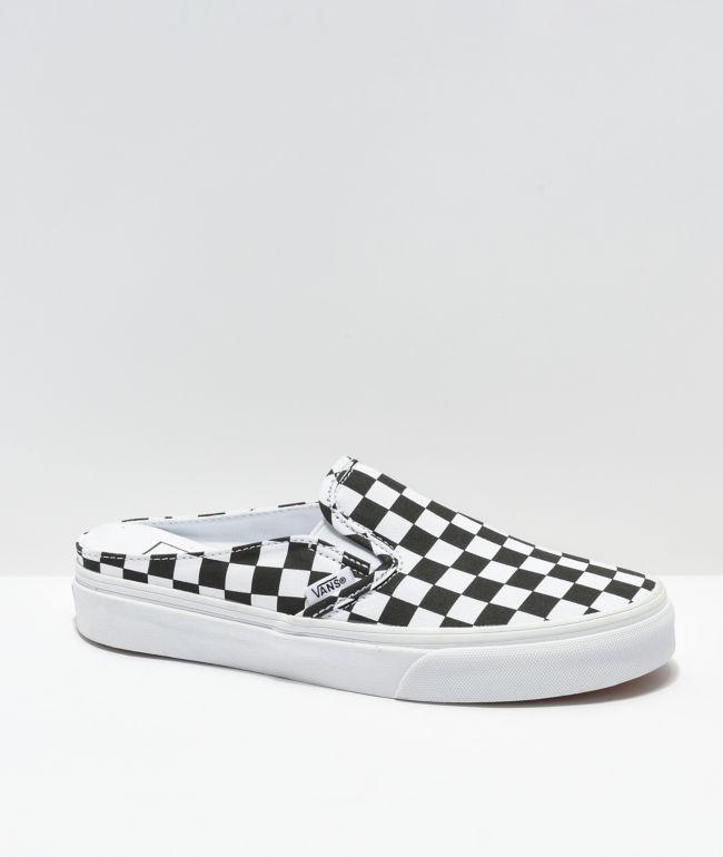 Vans Slip-On Checkerboard Black & White Mule Shoes