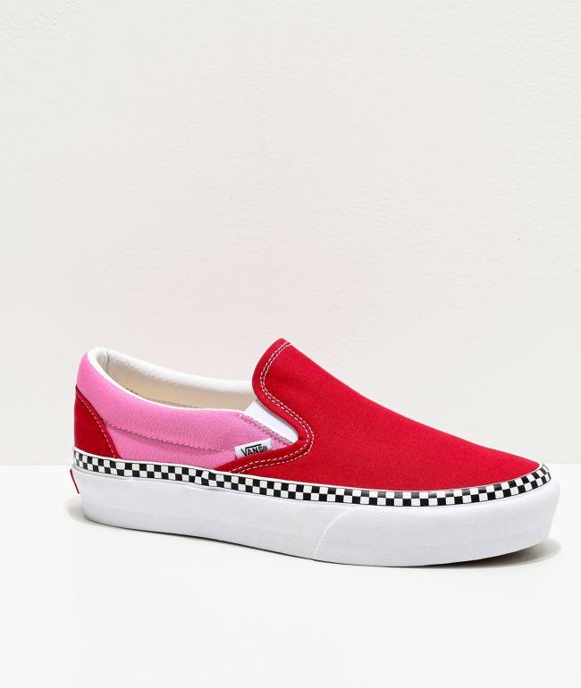 personal en voz alta imagina  Vans Slip-On Checkerboard Foxing Chili Red & Pink Platform Shoes | Zumiez