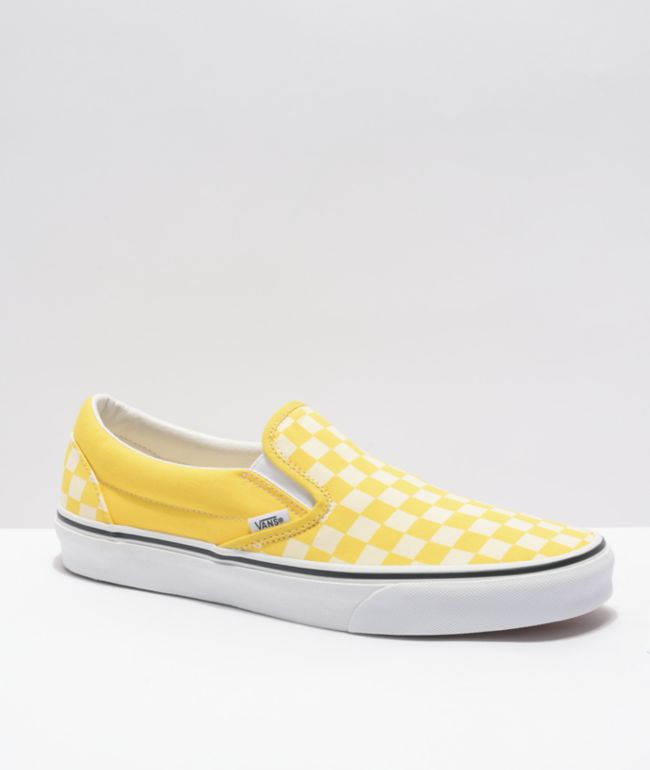 Vans Slip-On Cyber Yellow & White Checkerboard Skate Shoes