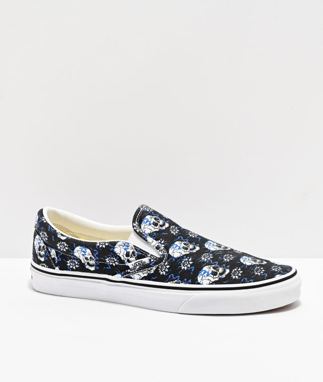 Vans Slip-On Flash Skulls Black & Multi Skate Shoes