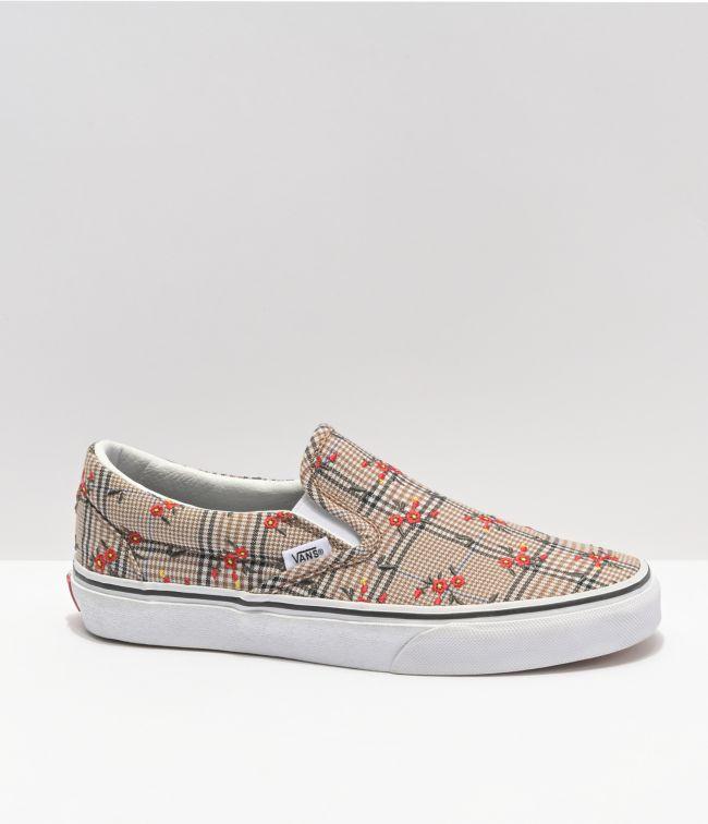 Vans Slip-On Glen Plaid & Floral Skate Shoes