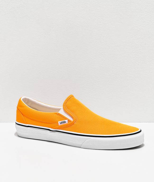 Vans Slip-On Neon Blaze Orange & White Skate Shoes