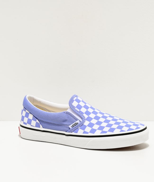 Vans Slip-On Pale Iris & White Checkerboard Skate Shoes