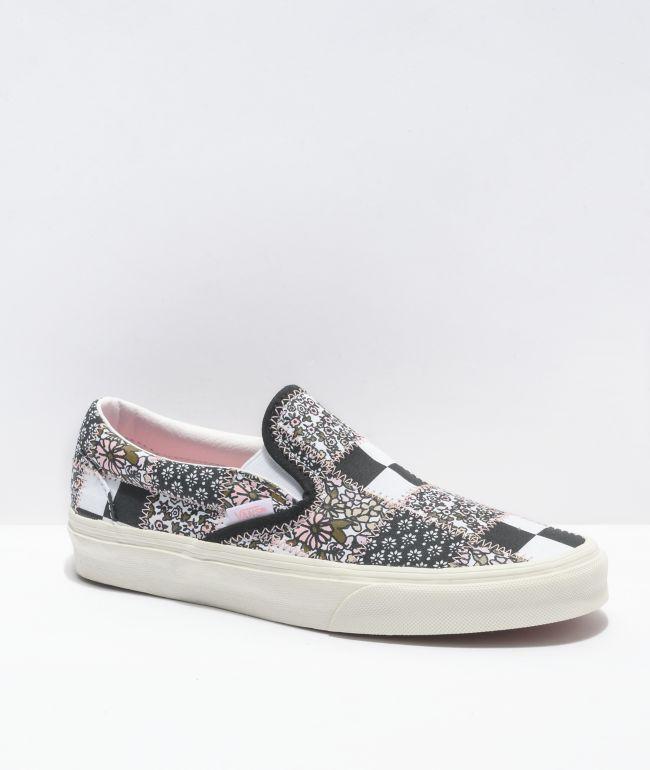 Vans Slip-On Patchwork Floral Black & White Skate Shoes