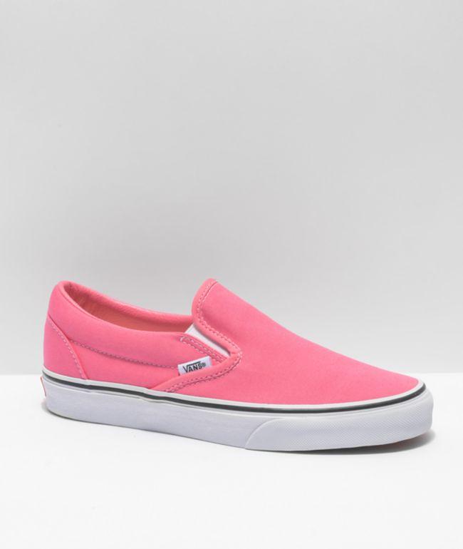 Vans Slip-On Pink Lemonade & White Skate Shoes