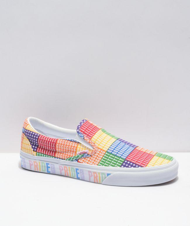 Vans Slip-On Pride Multi & White Skate Shoes