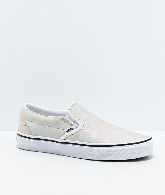 Vans Slip-On Prism Silver & White Suede Skate Shoes