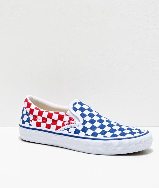 Vans Slip-On Pro Blue, Red & White Checkerboard Skate Shoes