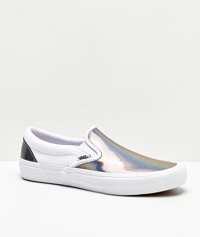 Vans Slip-On Pro Iridescent Silver & True White Skate Shoes