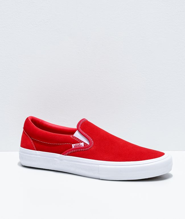 Vans Slip-On Pro Red & White Suede Skate Shoes