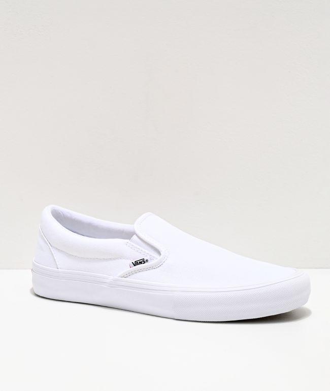 Vans Slip-On Pro White Skate Shoes | Zumiez