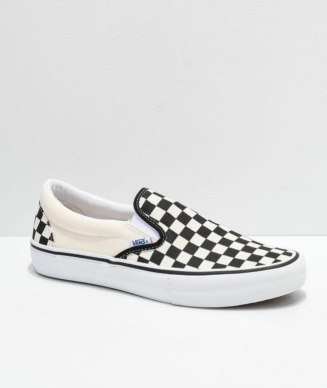 Vans Slip-On Pro zapatos de skate de cuadros negros, blancos