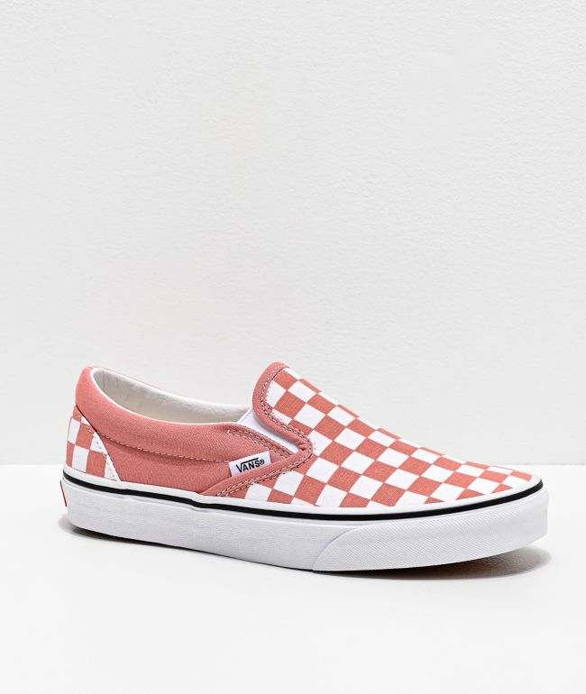 Vans Slip-On Rose Dawn & White Checkerboard Skate Shoes