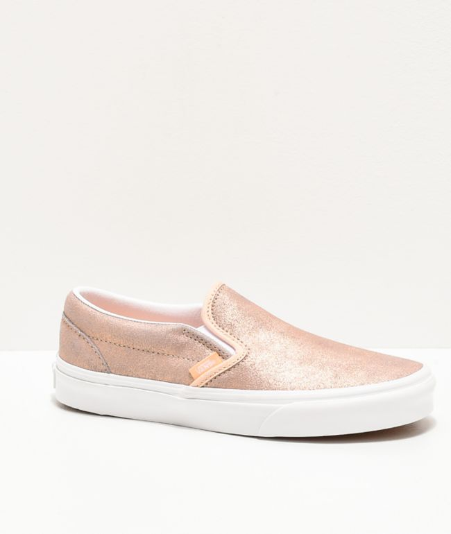 Vans Slip-On Rose Gold Skate Shoes   Zumiez