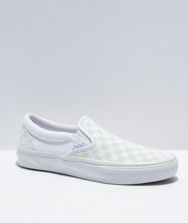 Vans Slip-On Skate White & Reflective Checkerboard Skate Shoes