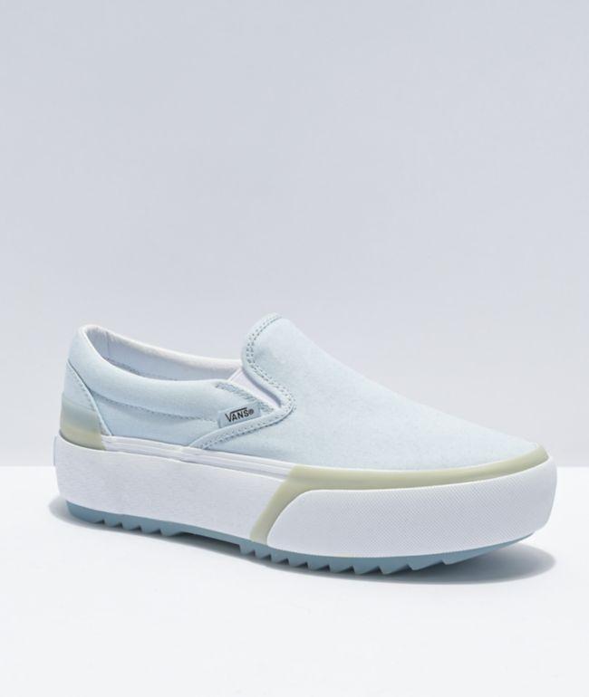 Vans Slip-On Stacked Blue Platform Shoes