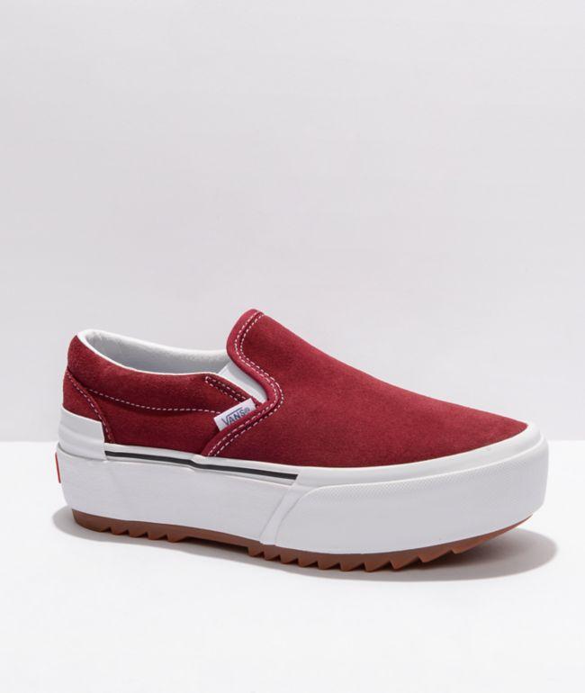 Vans Slip-On Stacked Pomegranate Suede Platform Shoes