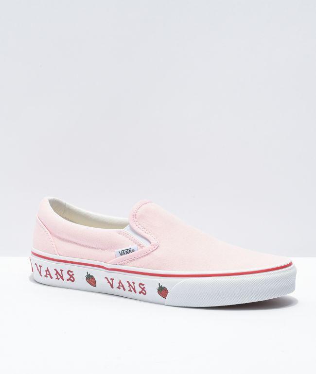 Vans Slip-On Strawberry Sidewall Pink & White Skate Shoes