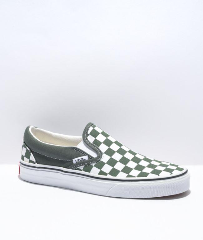 Vans Slip-On Thyme & White Checkerboard Skate Shoes