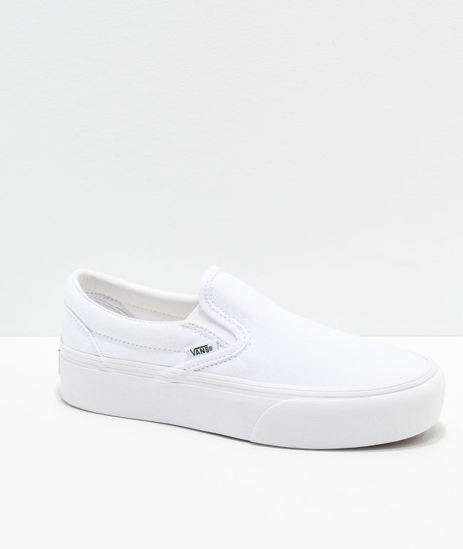 Vans Slip-On True White Platform Shoes