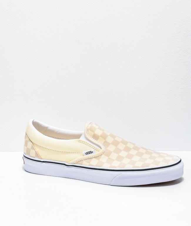 Vans Slip-On White & True White Checkerboard Skate Shoes