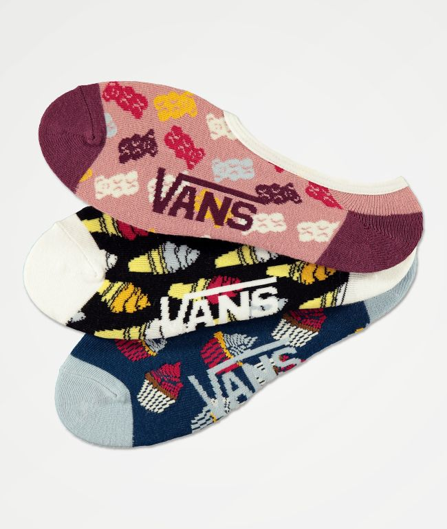 Vans Sugar Tooth Canoodle paquete de 3 calcetines invisibles