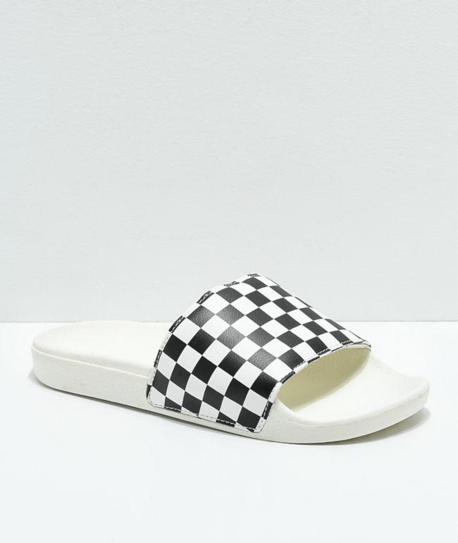 Vans White \u0026 Black Checkerboard Slide