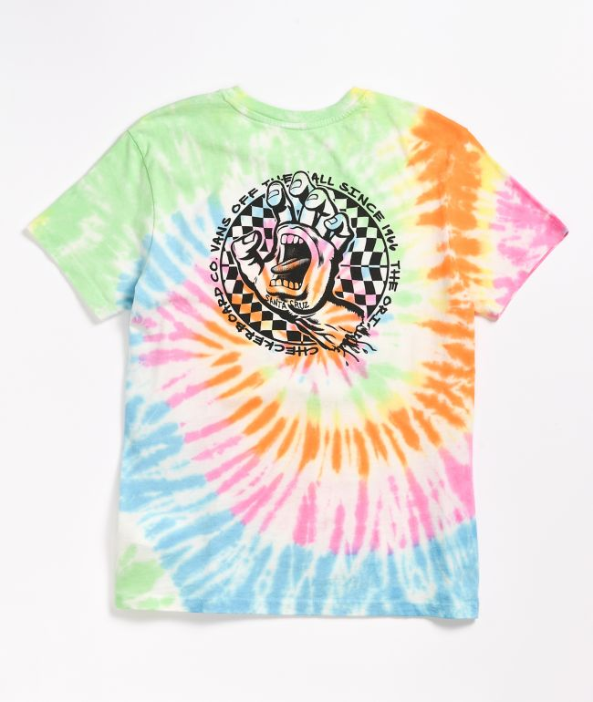 Vans x Santa Cruz Screaming Check Rainbow Tie Dye T-Shirt