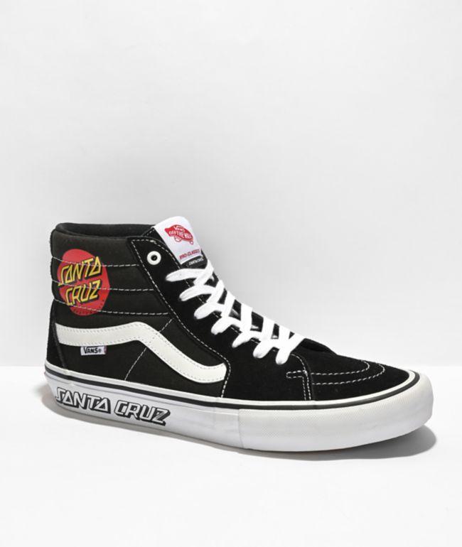 Vans x Santa Cruz Sk8-Hi Pro Black & White Skate Shoes
