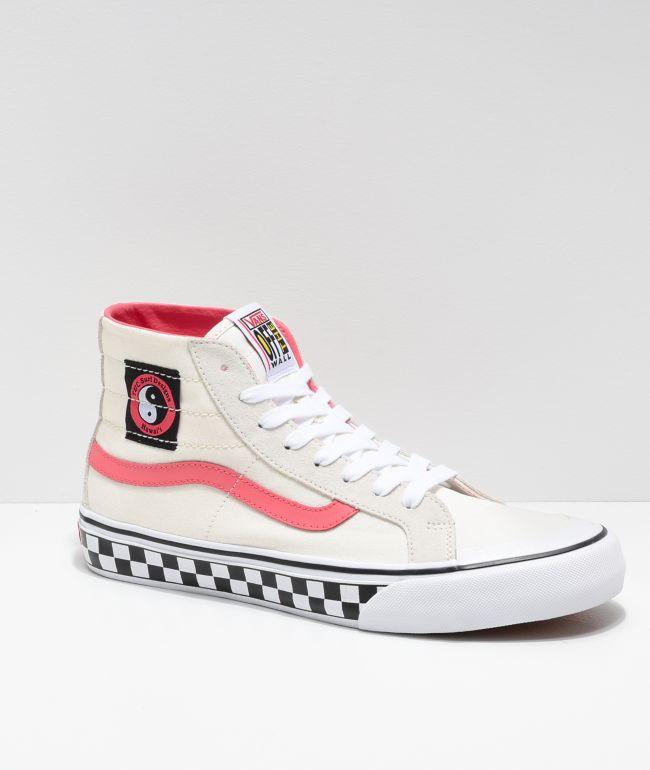 Vans x T&C Surf Designs Sk8-Hi 138 Deconstructed zapatos de skate rosas y blanquecinas