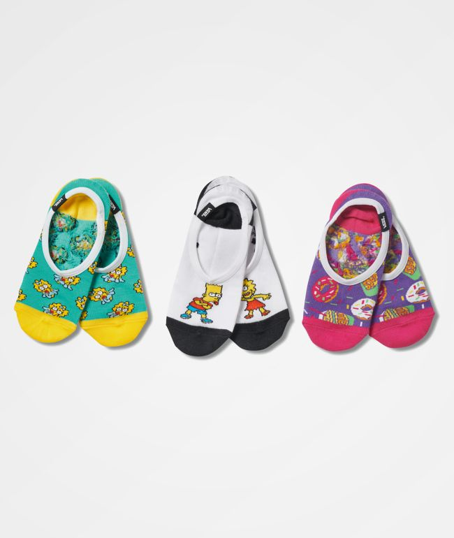 Vans x The Simpsons Canoodle 3 Pack No Show Socks