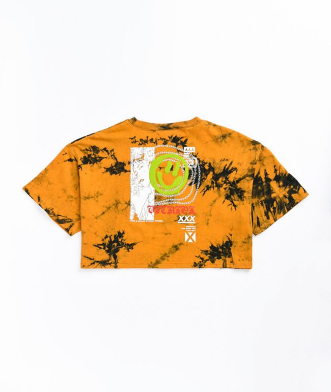 Vitriol Georgia Smile Orange Tie Dye Crop T-Shirt
