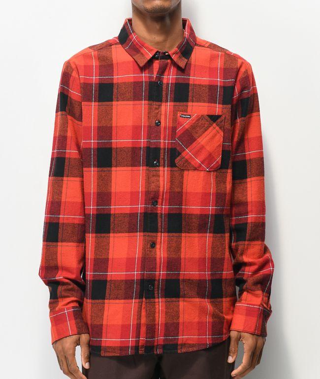 Volcom Caden Red Plaid Flannel Shirt
