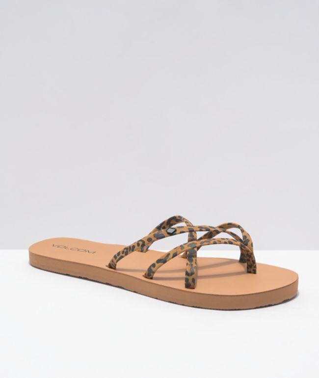 Volcom New School II Cheetah Strappy Sandals