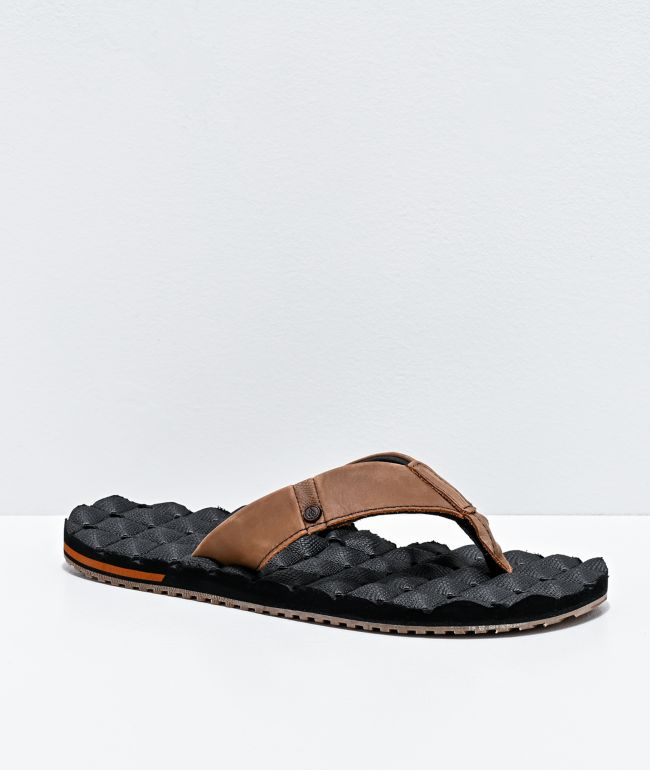 Volcom Recliner Black & Brown Leather Sandals