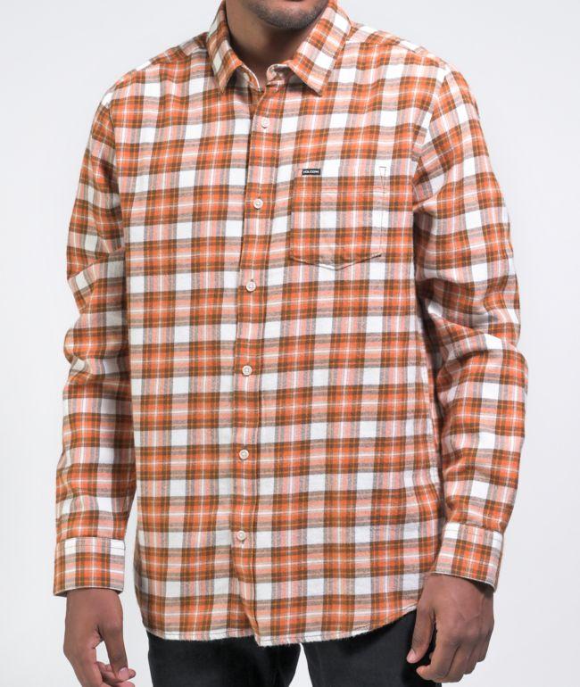 Volcom Repeater Orange & White Flannel Shirt