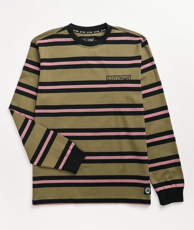 Welcome Medius Olive Striped Long Sleeve T-Shirt