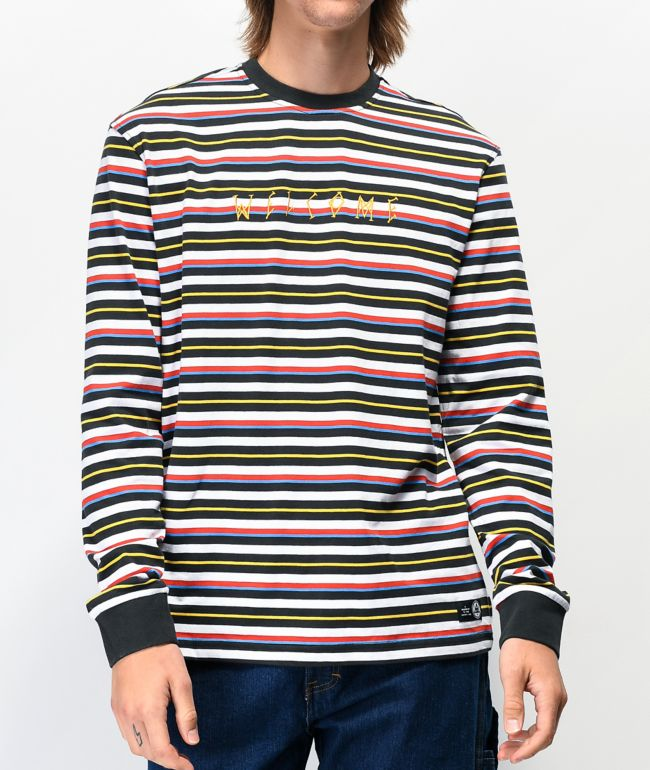 Welcome Surf Stripe Black & White Long Sleeve T-Shirt
