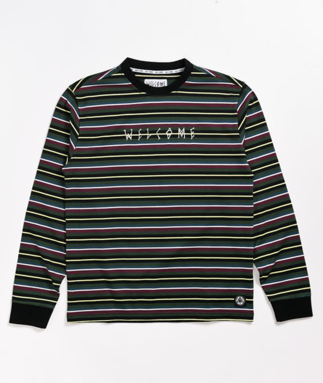 Welcome Surf Stripe Dark Green & Black Long Sleeve T-Shirt