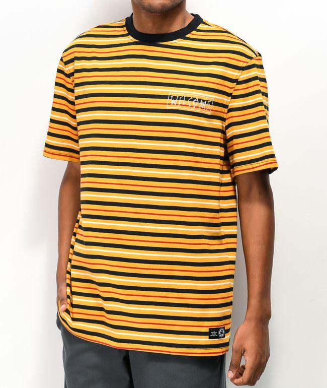 Welcome Surf Stripe Gold & Black T-Shirt
