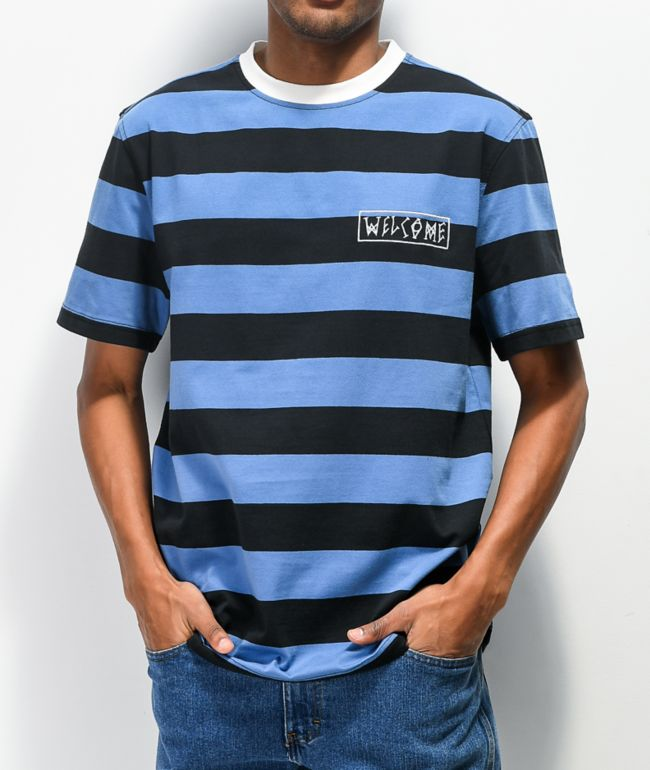 Welcome Thicc Stripe Blue & Black Knit T-Shirt