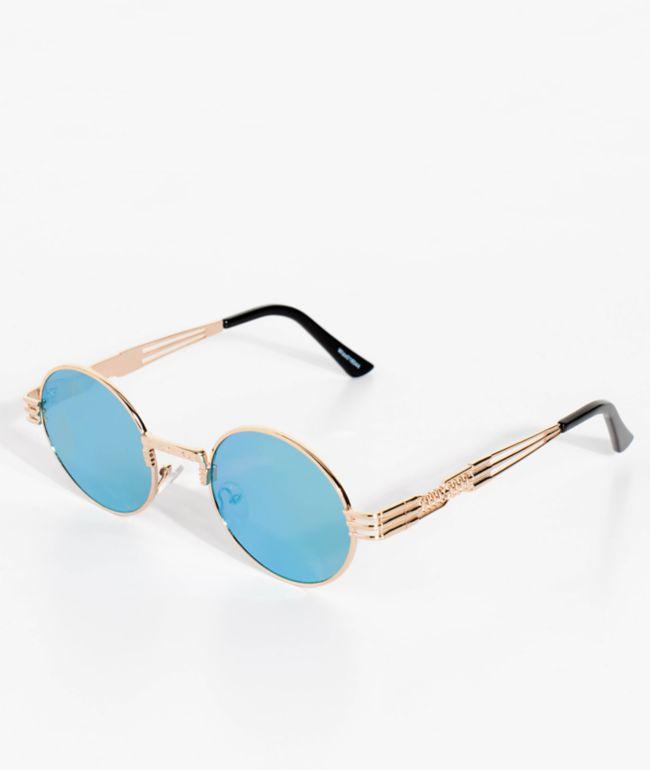 Wiz Round Gold, Green & Yellow Mirrored Sunglasses