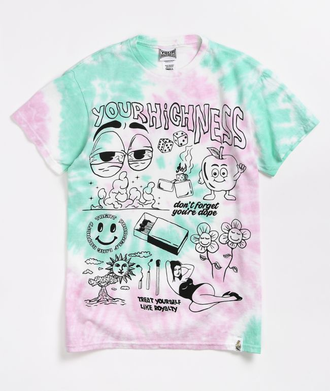 Your Highness Hybrid Pink & Green Tie Dye T-Shirt
