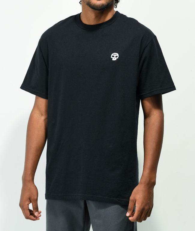 Zero Single Skull Embroidered Black T-Shirt