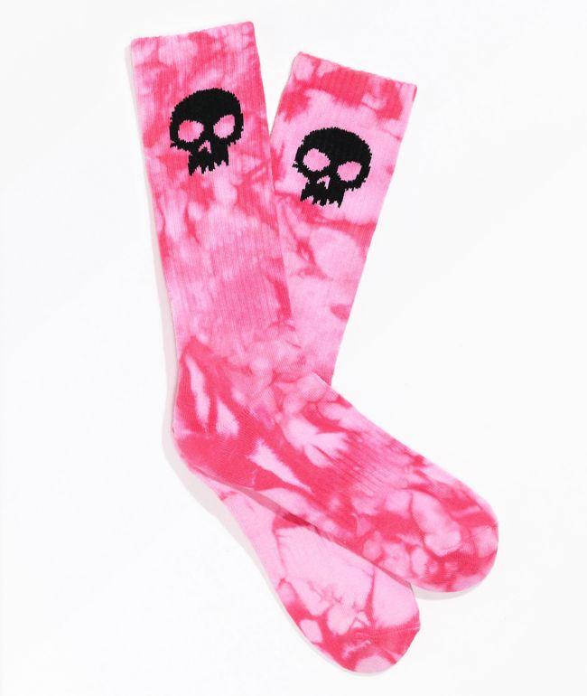 Zero Single Skull Pink Tie Dye Crew Socks
