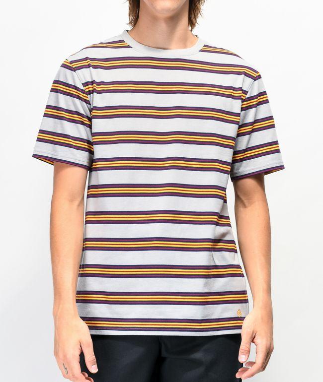 Zine Bonus camiseta gris y amarilla de rayas
