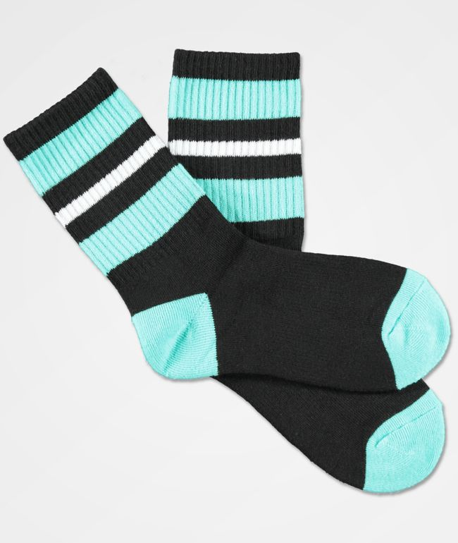 Zine Boys Mania Black & Mint Crew Socks